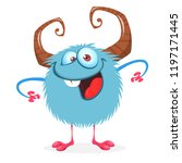 funny cartoon monster . vector... | Shutterstock .eps vector #1197171445