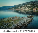 rocky coastline of adriatic sea ... | Shutterstock . vector #1197174895