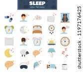 sleeping color flat icons set | Shutterstock .eps vector #1197176425