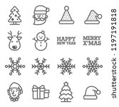 christmas vector line icon set. ... | Shutterstock .eps vector #1197191818