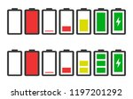 battery charge indicator icons...   Shutterstock .eps vector #1197201292
