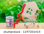 a supermarket cart with a small ... | Shutterstock . vector #1197201415