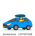 woman driving car with luggage... | Shutterstock .eps vector #1197207208
