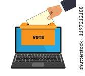 voting online concept in a flat ... | Shutterstock .eps vector #1197212188