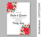 rose wedding invitation floral... | Shutterstock .eps vector #1197212245