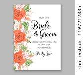 peach rose wedding invitation... | Shutterstock .eps vector #1197212335