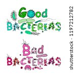 good and bad bacterias... | Shutterstock .eps vector #1197212782