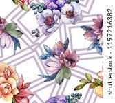 watercolor colorful bouquet... | Shutterstock . vector #1197216382