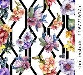watercolor colorful bouquet...   Shutterstock . vector #1197216475
