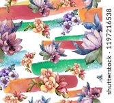 watercolor colorful bouquet...   Shutterstock . vector #1197216538