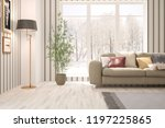 white room with sofa and winter ... | Shutterstock . vector #1197225865