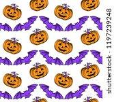 halloween pattern pampkins and... | Shutterstock .eps vector #1197239248