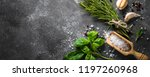 spices and herbs over black... | Shutterstock . vector #1197260968