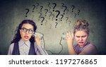 two funny looking women having... | Shutterstock . vector #1197276865