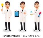 scientist man  set of three... | Shutterstock .eps vector #1197291178