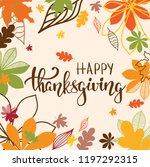 happy thanksgiving brush hand... | Shutterstock .eps vector #1197292315