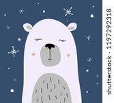 polar bear is enjoying the snow ... | Shutterstock .eps vector #1197292318