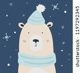polar bear is enjoying the snow ... | Shutterstock .eps vector #1197292345