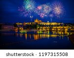 fireworks display near prague's ... | Shutterstock . vector #1197315508