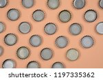bottle caps lined up in color... | Shutterstock . vector #1197335362
