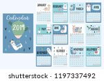 cute monthly calendar 2019 with ...   Shutterstock .eps vector #1197337492