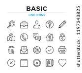 basic line icons set. modern...