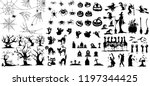 Stock vector collection of halloween silhouettes icon and character witch creepy and spooky elements for 1197344425