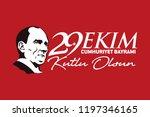 turkey   october 29  1923. 29... | Shutterstock .eps vector #1197346165