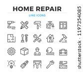 home repair line icons set.... | Shutterstock .eps vector #1197354085
