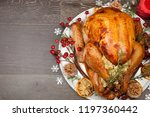 rustic style roasted christmas... | Shutterstock . vector #1197360442