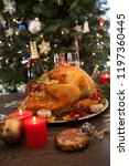 rustic style roasted christmas... | Shutterstock . vector #1197360445