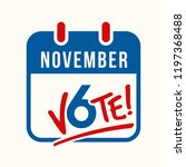 reminder to vote in the united... | Shutterstock .eps vector #1197368488