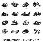 pieces of beef and pork in... | Shutterstock .eps vector #1197399775
