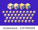 cube shape 3d isometric font ... | Shutterstock .eps vector #1197405358