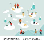 people group doing winter... | Shutterstock .eps vector #1197410368