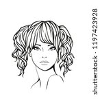 face of a beautiful young woman ... | Shutterstock .eps vector #1197423928
