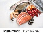 fresh fish and seafood. healthy ... | Shutterstock . vector #1197439702