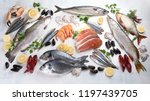 fresh fish and seafood. healthy ... | Shutterstock . vector #1197439705
