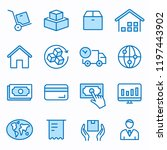 logistics flat line icons. set... | Shutterstock .eps vector #1197443902