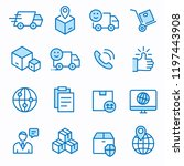 logistics flat line icons. set... | Shutterstock .eps vector #1197443908