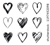 hearts icon set  hand drawn... | Shutterstock .eps vector #1197452098