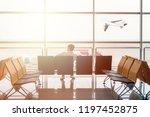man passenger are waiting on... | Shutterstock . vector #1197452875