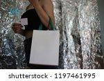 shopper woman hand shopping... | Shutterstock . vector #1197461995