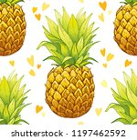 pineapple seamless pattern ... | Shutterstock .eps vector #1197462592