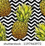 pineapple seamless pattern ...   Shutterstock .eps vector #1197463972