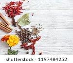 rustic autumn flatlay... | Shutterstock . vector #1197484252