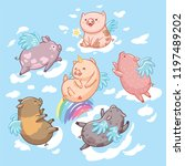 flying pigs in the clouds.... | Shutterstock .eps vector #1197489202