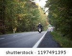 Back View Of Motorcyclist In...