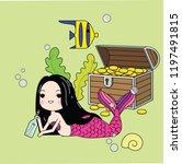 cute little mermaid with sea... | Shutterstock .eps vector #1197491815