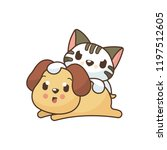 cute dog and cat illustration...   Shutterstock .eps vector #1197512605